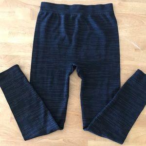 Nautica L/XL Black White Striped Dot Leggings